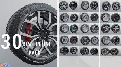 مجموعه مدل سه بعدی تایر ماشین Modern Sport Car Rims